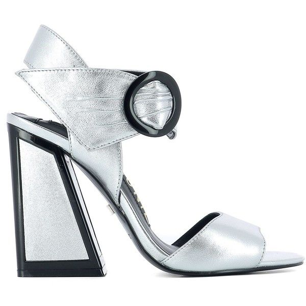 Silver Leather Sandals ($225) ❤ liked on Polyvore featuring shoes, sandals, silver, womenshoeshigh-heeled shoes, silver high heel shoes, high heel shoes, leather shoes, leather high heel sandals and silver leather shoes