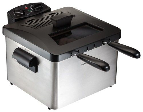 Hamilton Beach - 12-Cup Professional-Style Deep Fryer - Silver/Black - Angle