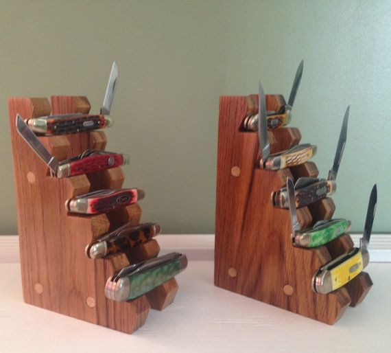 Handmade Oak Wooden Pocket Knife Display by PrimitiveAppalachian