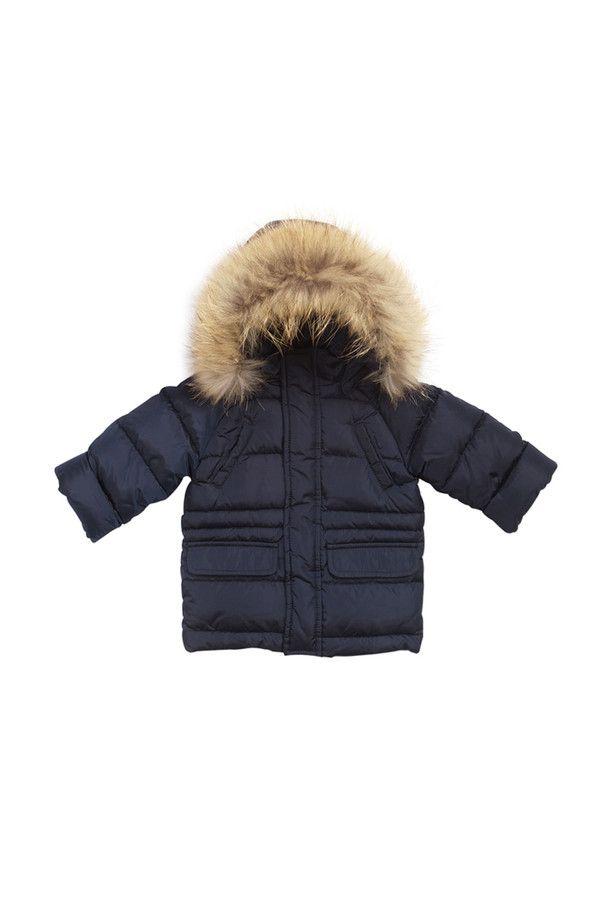 Nylon taffeta medium length down-filled coat, internal drawstring waist, detachable hood and fur trim.  #ilgufo #fw13 #shopping #downjacket #fashionkids #childrenswear #fashion #musthave