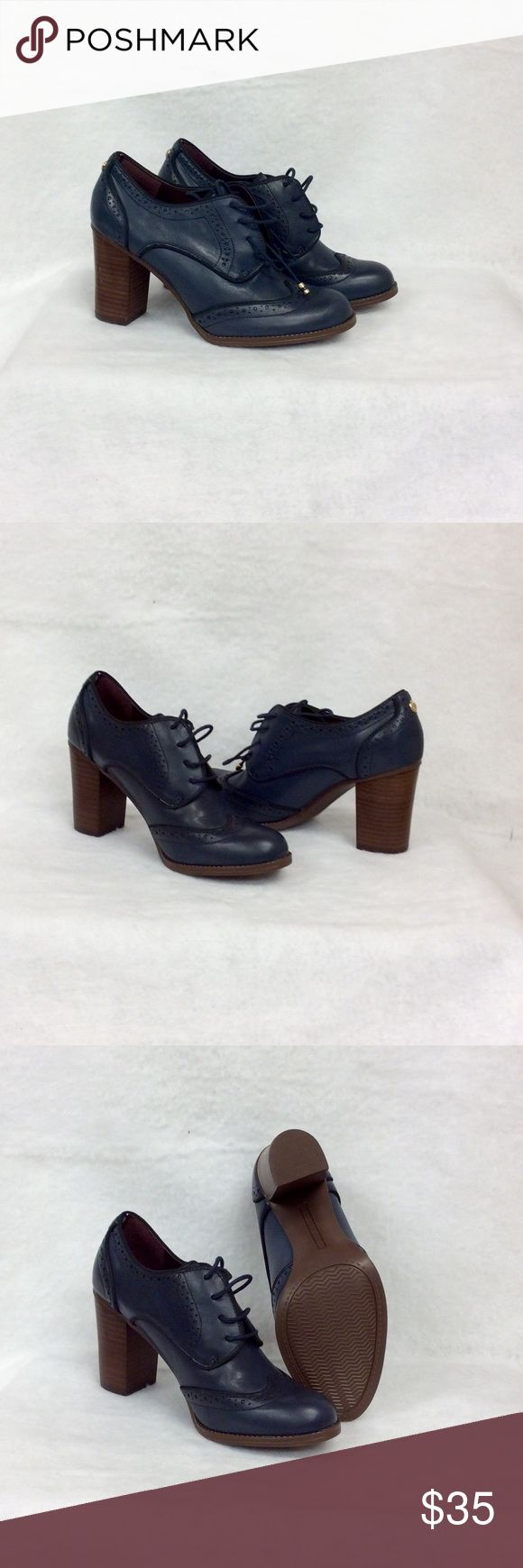 """NEW Leather Tommy Hilfiger Heels NEW Leather Navy Blue Tommy Hilfiger Wing Tip Lace Up Heels!! Never Worn! Perfect Condition! 3-1/4"""" Chunky Heel Leather Upper, Man Made Balance Tommy Hilfiger Shoes Ankle Boots & Booties"""
