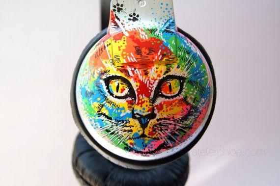 Psychedelic Cats on Acid  Custom Headphones Hand by atelierChloe