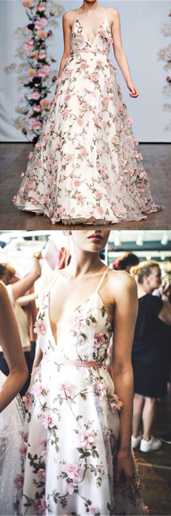 V-neck A-line Flower Tulle Prom Dresses, Long Prom Dresses, Affordable Prom Dresses,PD190477