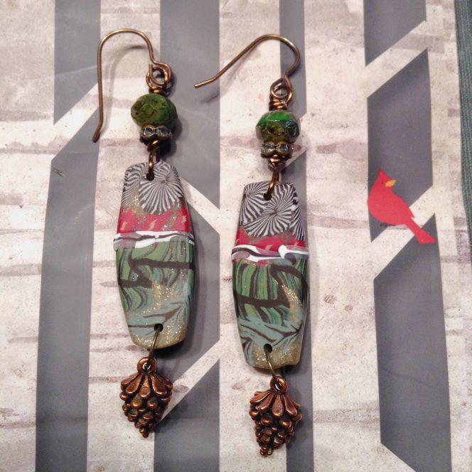 Dec Art Bead Scene challenge by Sarah Raines. Earrings made with polymer clay champs by Humblebeads, copper pinecones, and Czech glass