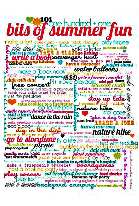 Summer Fun - 101 bits of summer fun list ~ must dos ♥