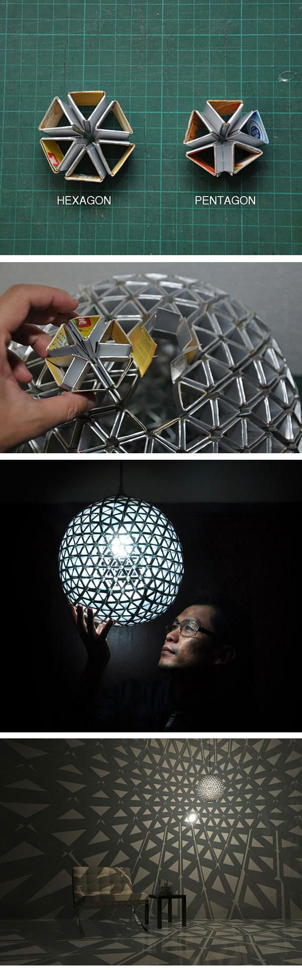 Pretty cool lamp, as long as it doesn't catch fire (the hexagons and pentagons are cardboard).: Squares Size, Discos Ball, Diy Lights, Diy Cardboard, Cardboard Lamps, Awesome Cardboard, Cardboard Art, Diy Beautiful, Beautiful Cardboard