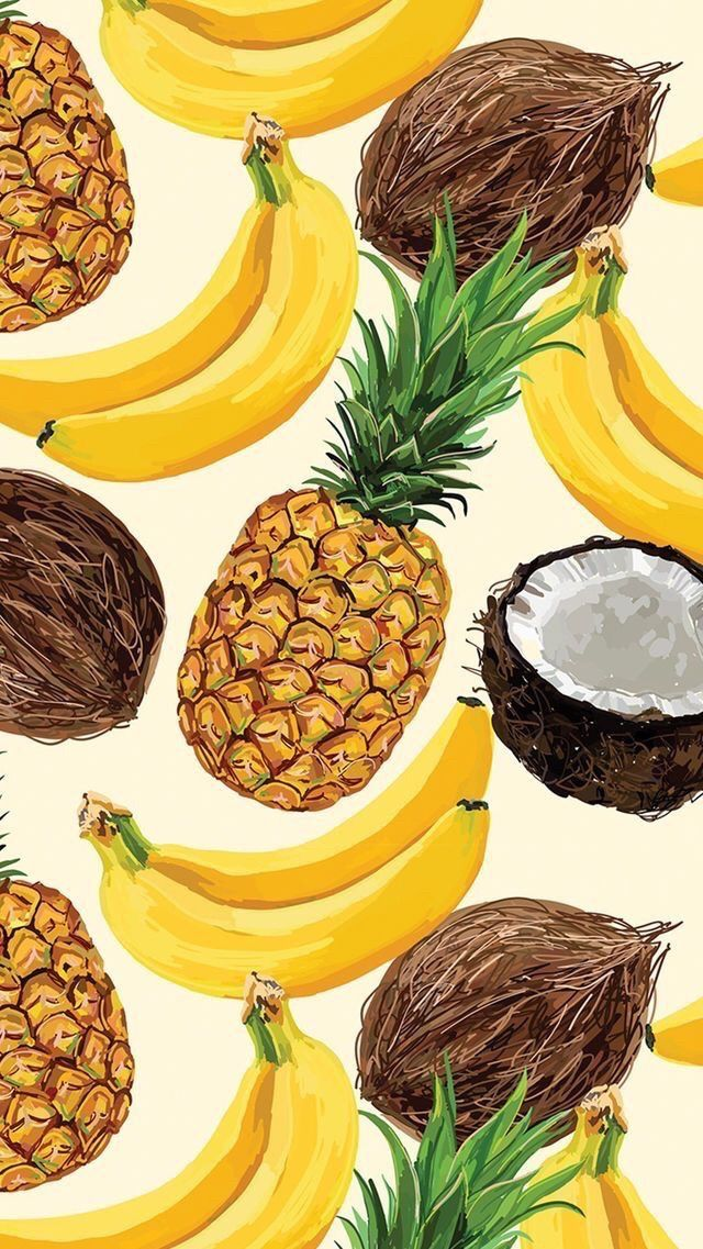 Pineapple banana coconut wallpaper background