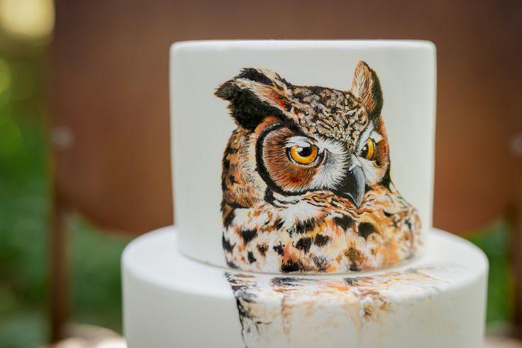 Hand painted owl wedding cake    Sweet deer cakes