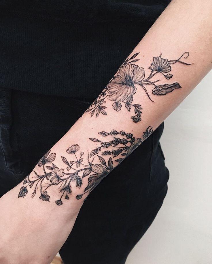 London Tatouage Manchette Tatouage Floral Tatouage Botanique