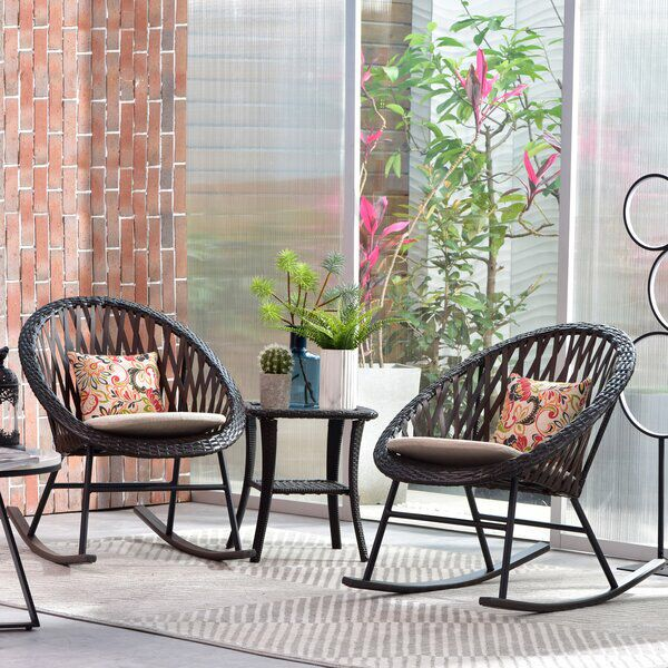 Afsar Rocking Chair With Cushions Rocking Chair Porch Outdoor Rocking Chairs Patio Rocking Chairs