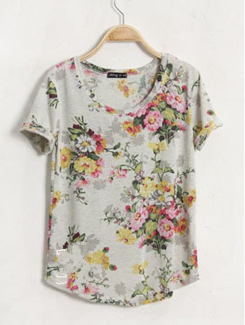 Grey Print Round Short Sleeve Tshirt