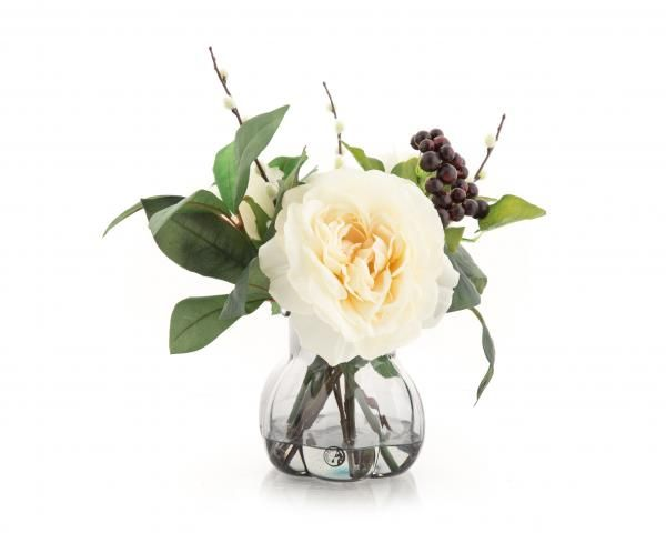 Rose, Berry and Pussy Willow in a grey glass vase. Cream. Height 26cm.  €40.00