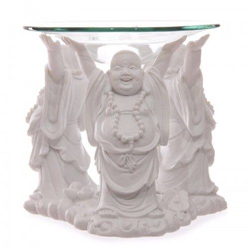 Decorative White Chinese Buddha Oil Burner with Glass Dish (BUD183) by www.goldengoosegifts.co.uk