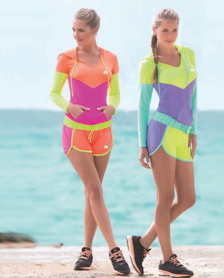 Garotas - Ref: 4794 Hoodie and 4796 Shorts. Size:S-M-L-XL. Material: Microfiber Nylon - Spandex. Colours: Black, Mint, Salmon, Lilac, Neon Green, Neon Fuchsia.