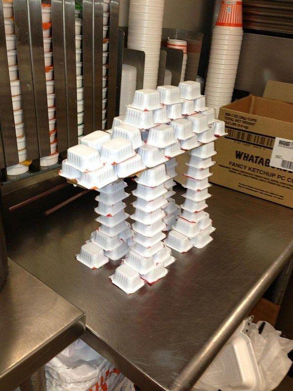 Bored Burger Flipper Builds AT-AT Walker from Ketchup Packets