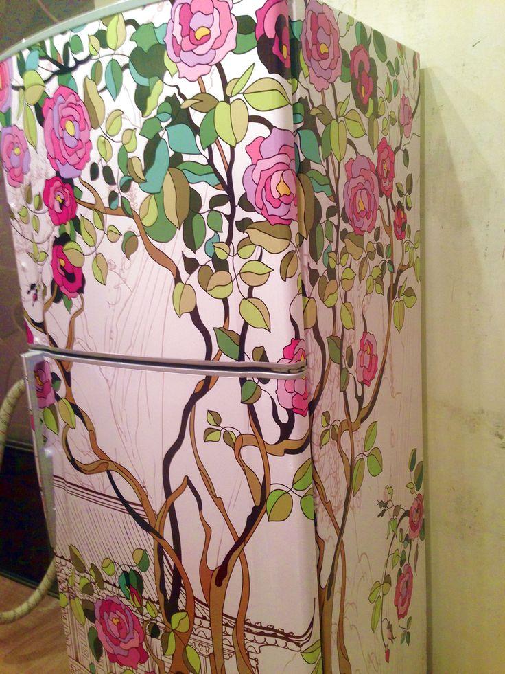 """Фото наших покупателей. Наклейка  """"Розы"""" на холодильник http://stickers-fridge.com/goods/DS-09 на двери  http://stickers-fridge.com/goods/door-rose #sticker #vintage #decor #crafts #vinyl #fridge #refregirator #wrap #door #wall"""