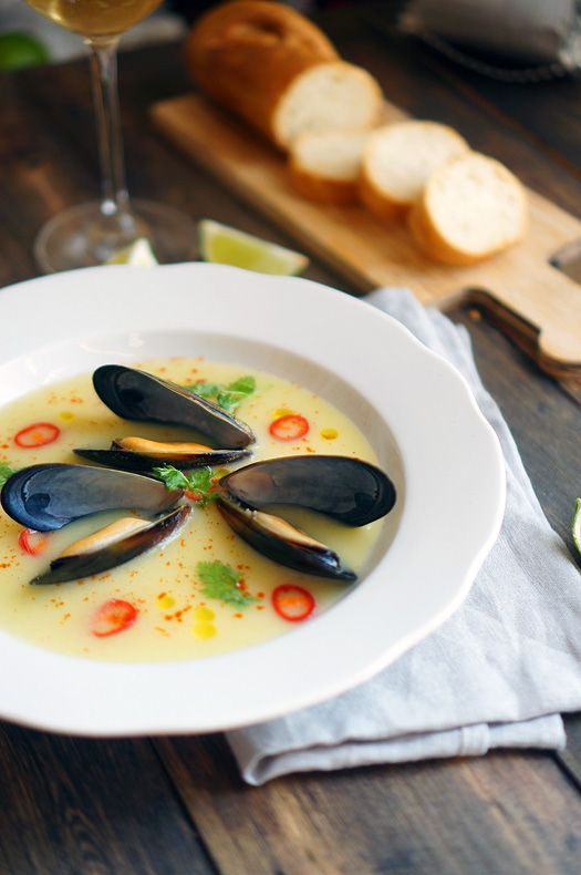 Лёгкий суп с морепродуктами, пошаговый фоторецепт, кулинарный блог, andychfe.ru