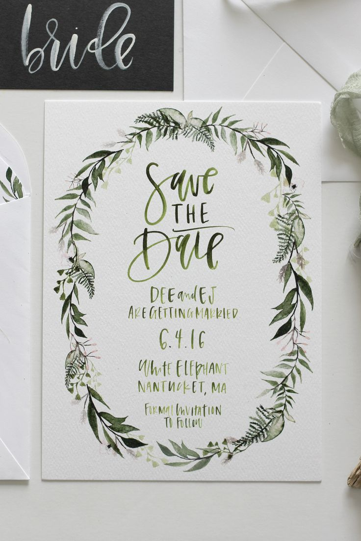 destination wedding invitation rsvp date%0A Dee   EJ u    s Botanical Wreath Save the Date