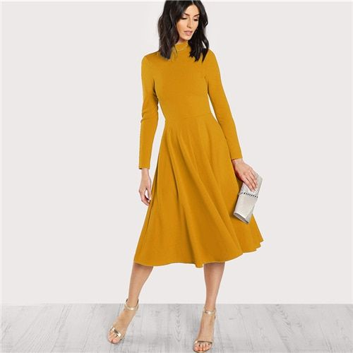 Plain Fit Flare Midi Dress Office Ladies Mock Neck Pleated A Line Women Long Sleeve Fall Party Dress Size XS Color Mustard Bright