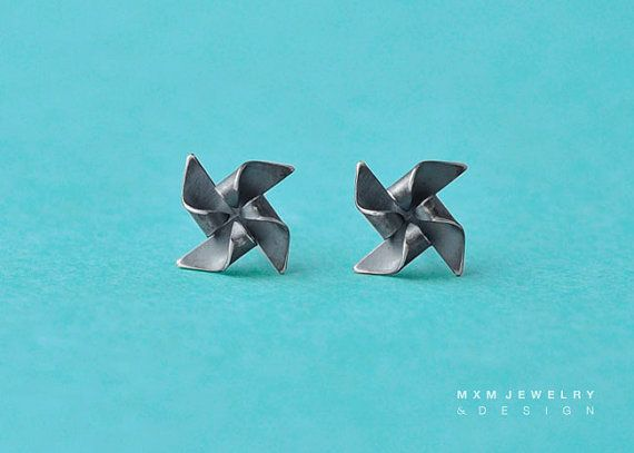 Something different: Oxidized 925 Sterling Silver Pinwheel Earrings