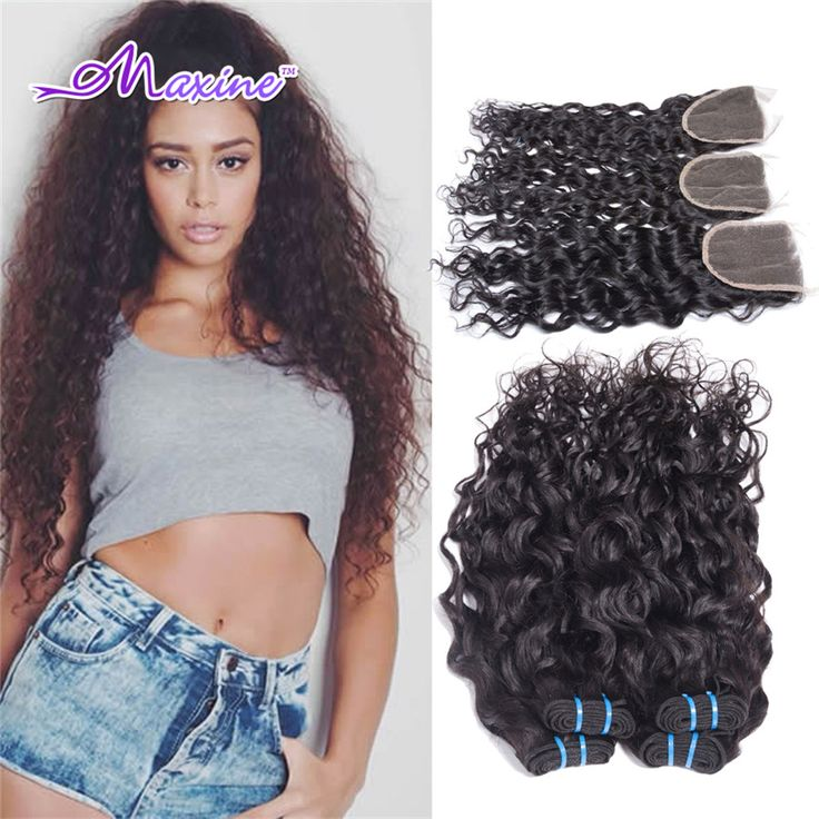 Rosa Brazilian Water Wave Virgin Hair With Closure Brazillian Virgin Hair Wet and Wavy Brazilian Hair 3-4 Bundles With Closure *** Read more  at the image link.