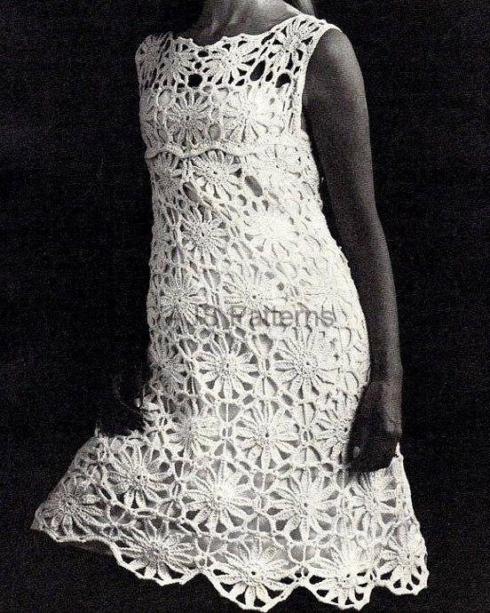 PDF Crochet Pattern for  Flower Motif Dress  - Retro Chic.via Etsy.