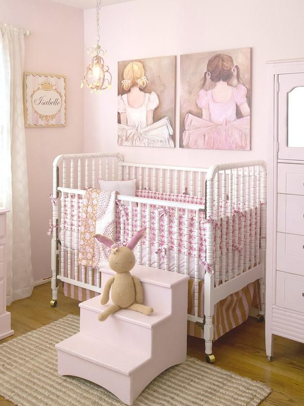 """Combining the """"Beautiful Ballerina Blonde"""" stretched wall art and the """"Sweet Ballerina Brunette"""" stretched wall art is perfect for a little dancer's room. These pieces have hints of vintage dress patterns and touches of soft pinks and cream colors that make them look like elegant, genuine originals. To make the room hers, the perso..."""