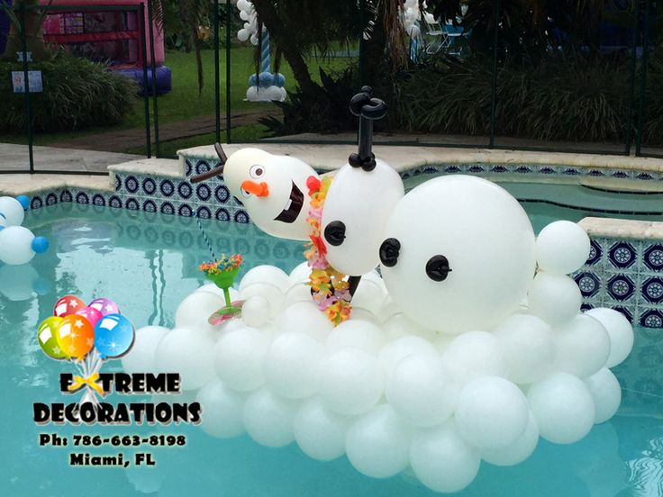 Olaf balloon sculpture pool decoration miami party