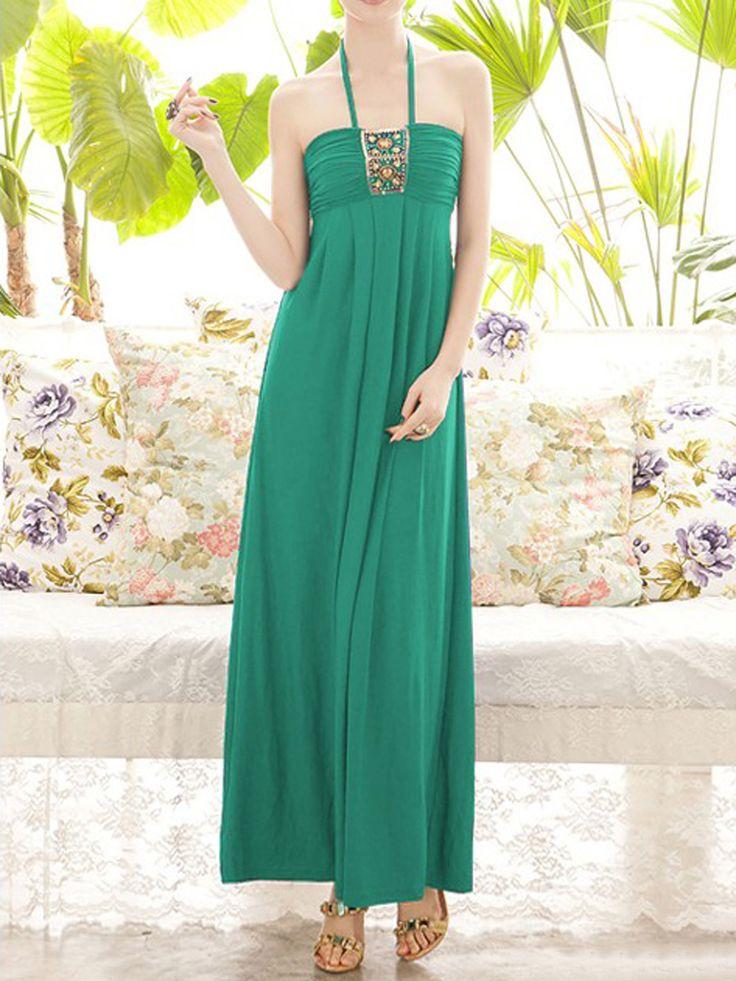 Green Halter Neck Maxi Party Dress | Choies