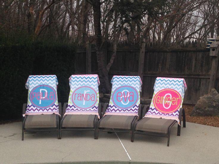 www.monogramally.com personalized beach towels - monogram beach towel - bridal party - swim team - pool party - birthday gift - bachelorette party - chevron - summer