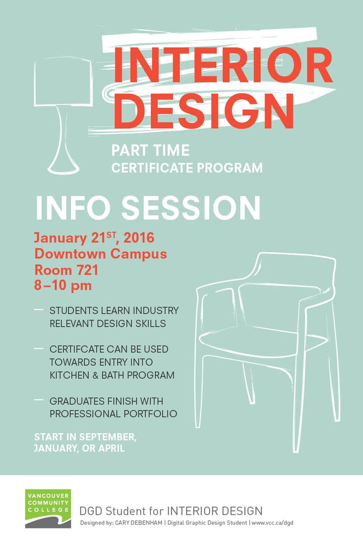 Poster Design for an info session about the Interior Design program at Vancouver Community College. Mid century modern and illustrative elements.