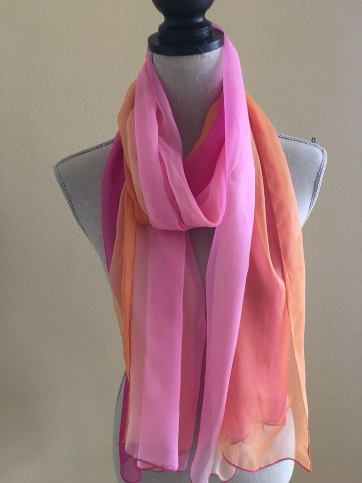 Vintage Passigatti Moda Italiana Hombre Style Pink & Orange 35 x 72 Silk Scarf #Passigatti #Vintage #Any