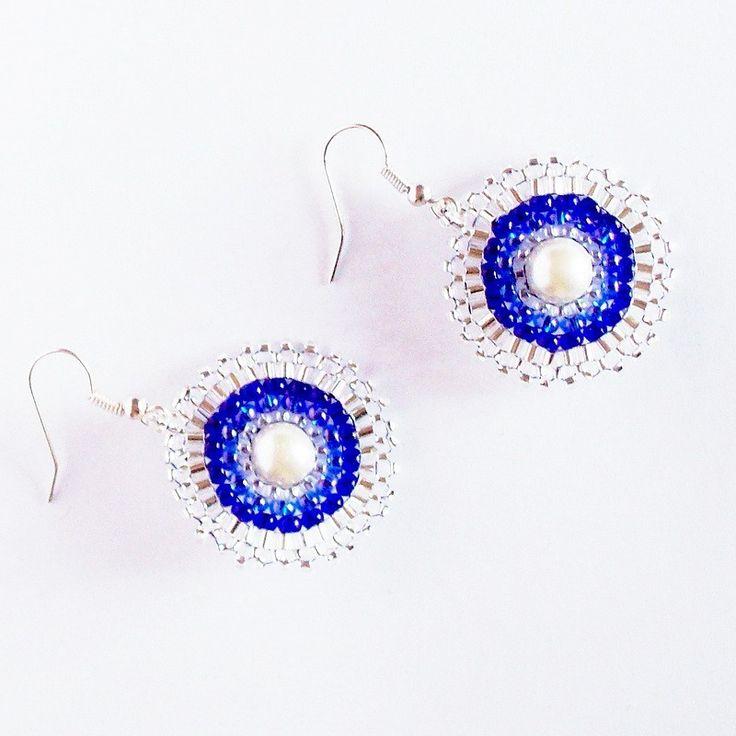 Náušnice kulaté modro bílé