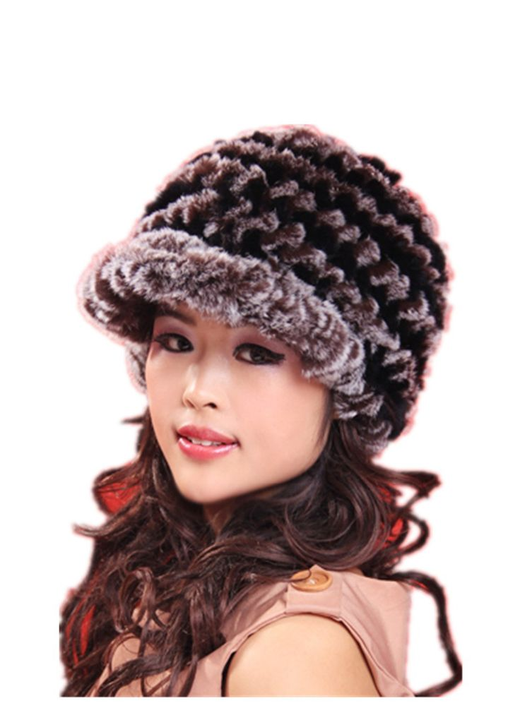 H901-autumn and winter  black red fashion warm knitted visors, natural rex rabbit fur hat for women