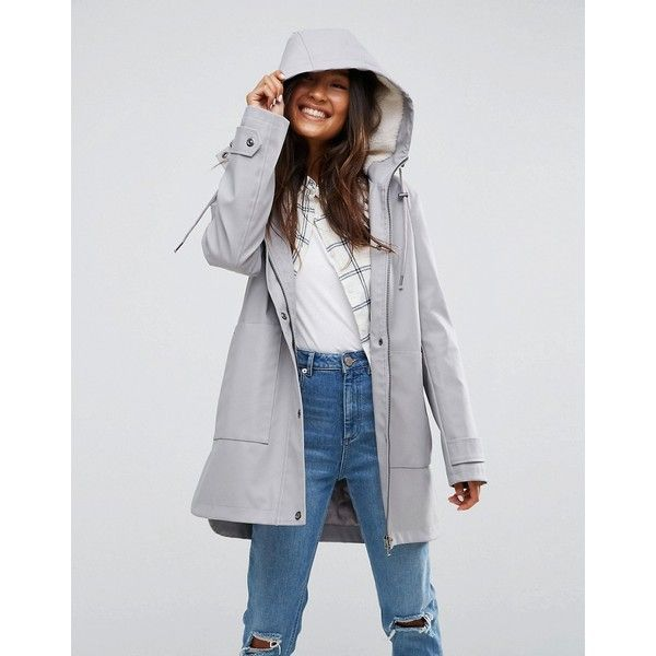 ASOS Premium Raincoat with Borg Liner ($87) ❤ liked on Polyvore featuring outerwear, coats, grey, asos, pu coat, lined rain coat, asos coats and tall coats