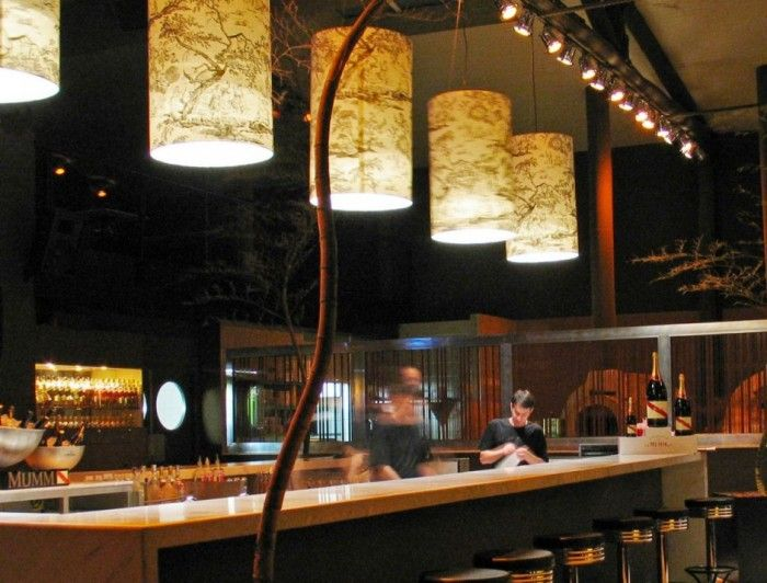 Accessories & furniture,Appealing Japanese Style Restaurant Bar With Marble Top Bar Counter Feat Round Stainless Steer Bar Stool And Floral Pattern Traditional Pendant Light Shade Complete With Stainless Track Ceiling Light Combine Plant Decor Ideas,Amazing Restaurant Bar Design Ideas