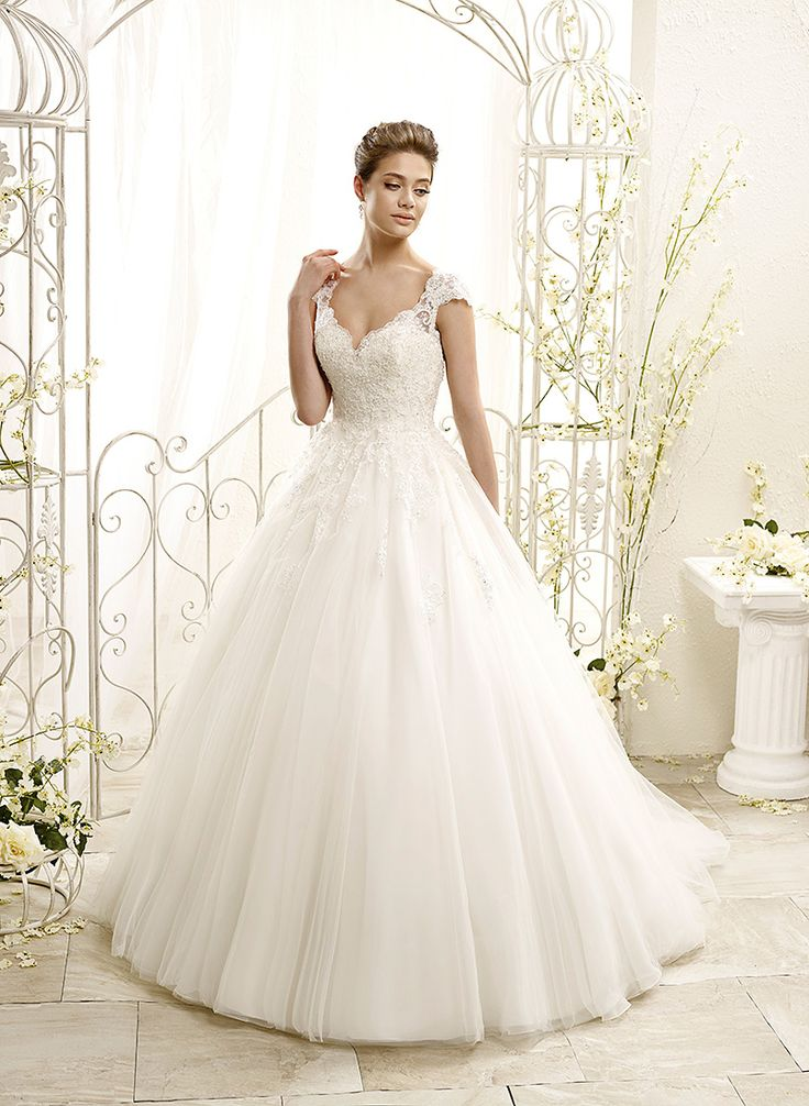 ADK Style 77963  Fabric: Soft tulle / Corded chantilly lace / Detachable belt crystal beaded appliqués