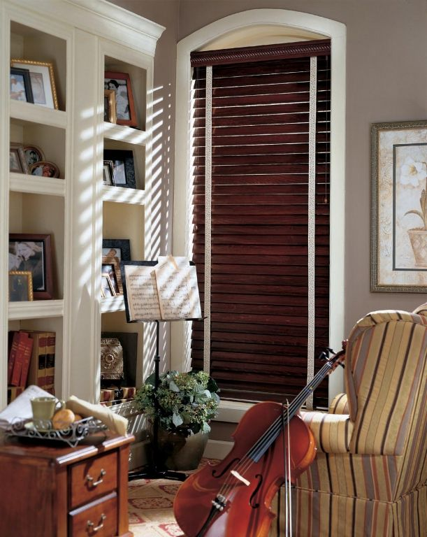 Decorative Tapes On Mahogany Stained Blinds | Wood blinds ...