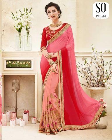Budget Sari Indien Branché Rose Anokhi Sari pas cher Magnifique