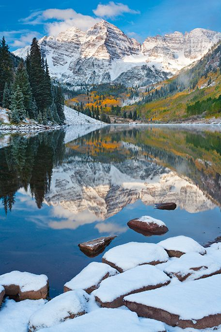 fall colors and fresh snow at Maroon Lake, White River National Forest near Aspen, Colorado | Andy Cook, RMRP