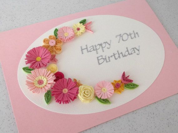 70th birthday greeting card handmade quilled by PaperDaisyCards