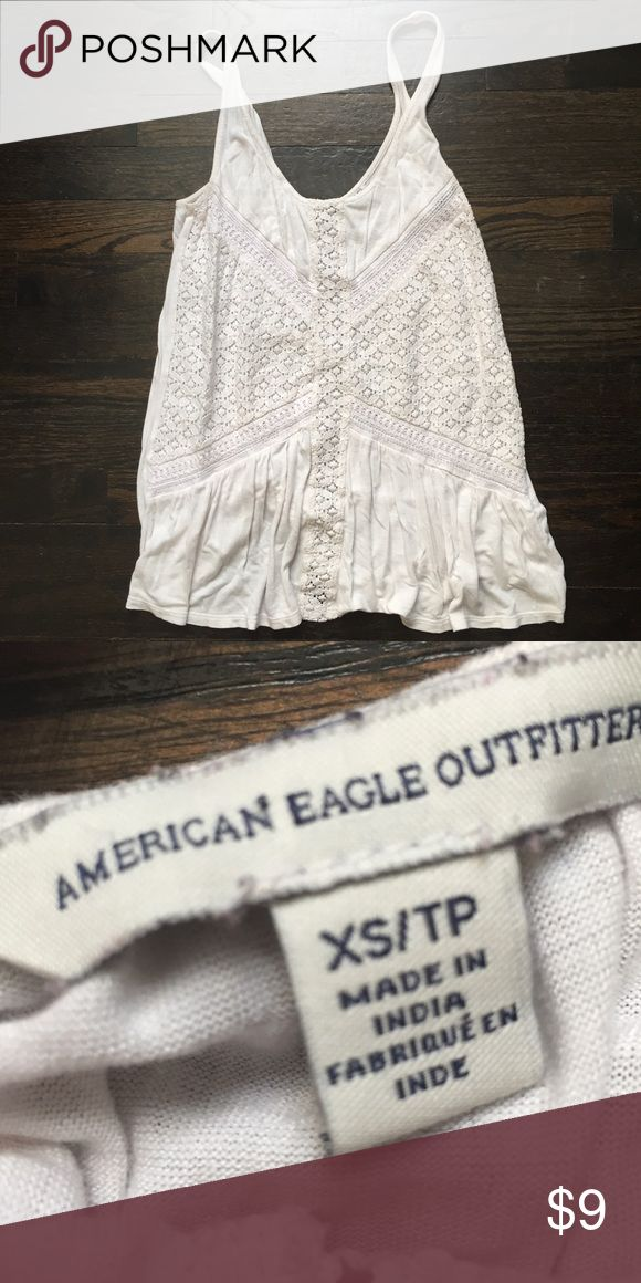 American Eagle Outfitters white Lace Tank Good condition white lace tank from American Eagle Outfitters. Very flowy and cute and can be worn with a lot of outfits. American Eagle Outfitters Tops Tank Tops