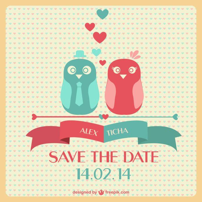 Baixe grátis esse Save the date fofíssimo com dois passarinhos. Arquivo vetorial do convite: faça o download aqui.