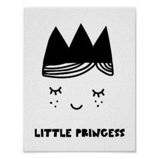 Kids Little Princes Black Drawing Poster