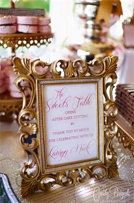 Candy buffet sign - blush and gold candy buffet
