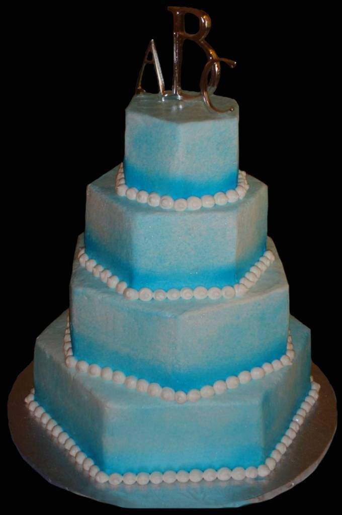 light blue wedding | buttercream wedding cake with shades of blue going from dark to light ...