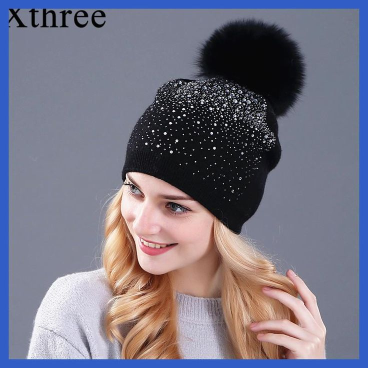 32ba45cbe60  Xthree  women winter beanie hat Rabbit fur wool knitted hat the female of  the