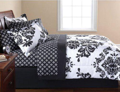 Black & White Damask Queen Comforter & Sheet Set (8 Piece Bed In A Bag) Modern Living,http://www.amazon.com/dp/B00CIAU0C8/ref=cm_sw_r_pi_dp_nOgZsb1MJ8HJXNNC