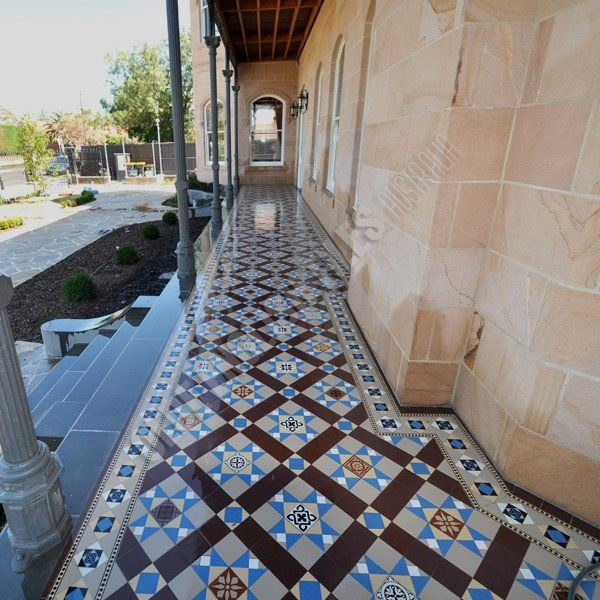 Olde English Tiles – Westminster pattern with the Toorak border. Gorgeous Verandah Heritage Tessellated Tiles