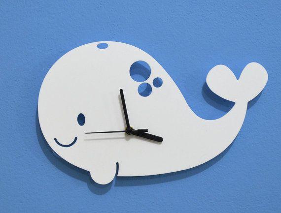Niños dibujos animados silueta reloj de pared de por SolPixieDust